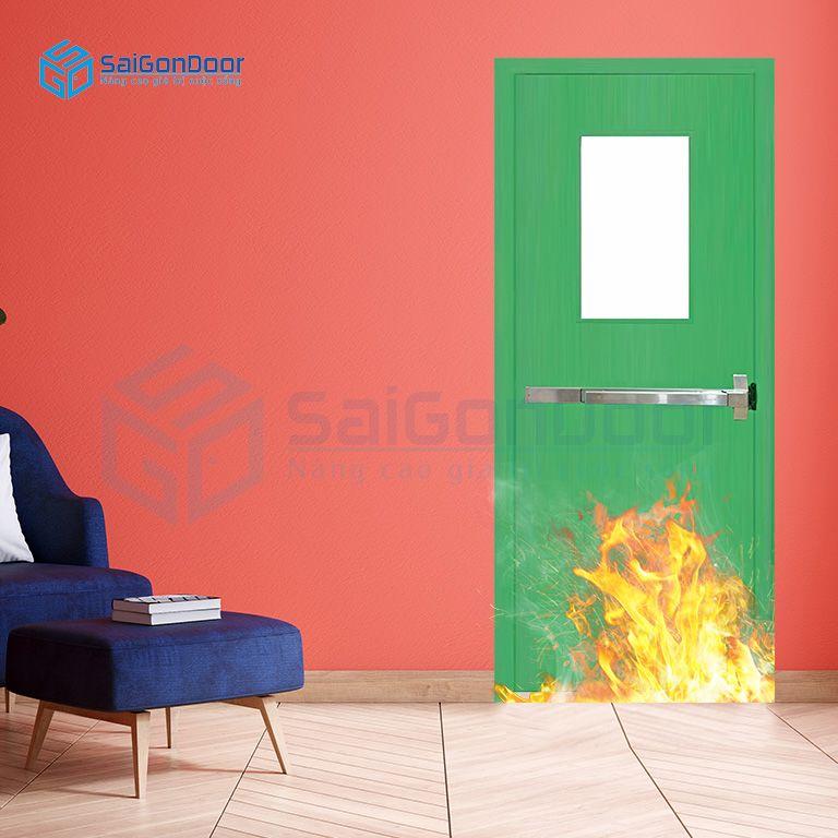 Cửa an toàn có thanh thoát hiểm và ô kính chống cháy 1G1 xanh thoan thoat hiem